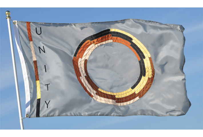 Racial Unity Flag Appliqué Silver